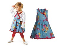 girls blue casual dress ruched floral print sleeveless summer dress kids new arrival 2014