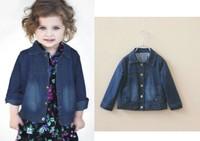 children spring jacket girls denim jacket outerwear turn-down collar long sleeves kids jackets & coats baby outerwear