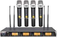 MICWL 4x800 Channel UHF Diversity Wireless 4 Handheld DJ Karaoke Microphone Mic Set System