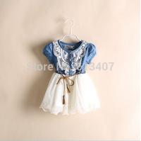 baby girl dress Retail 2014 new spring kids clothing girls casual princess dresses kids cotton thin denim short-sleeve dress