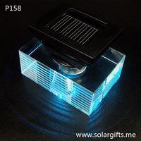Luxury car perfume air fresher crystal bottle color changing solar led light car decoration