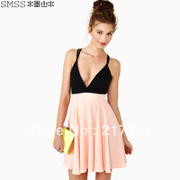 Free Shipping Vogue Sexy Clubwear Deep V-neck Bandage Backless High Waist Spaghetti Strap Plus Size Chiffon Party Mini DressQL56