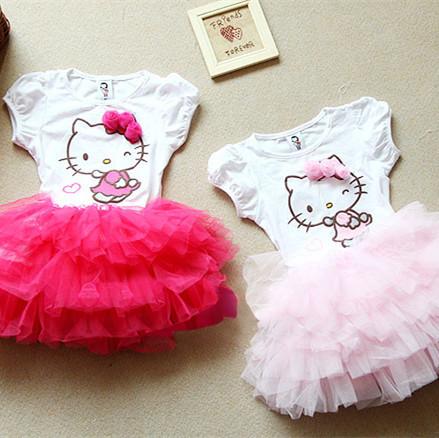 Girls dresses Children's clothing wholesale summer girls Hello Kitty the squint Rose dress girls cartoon princess tutu dress kid(China (Mainland))