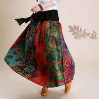 SANG 2013 spring and autumn national trend quality fancy fluid patchwork bow expansion bottom bust skirt