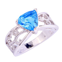 New Eye-Catching  Blue Topaz Silver Ring Size 6 7 8 9 10 11 12 Stone Jewelry  For Gift/Party Wholesale  Free Shipping