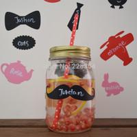 "3.5"" x 1"" Little Man Mason Jar Mustache Wedding Chalkboard Labels Tags Bachelor Party Favor Wine Drink Glass Photo Props"