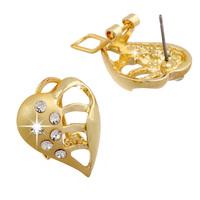New 2014 Fashion Brand Vintage Piercing Love Crystal Leaf Hollow Heart 18k Gold Stud Earrings For Women BrincosJewelry Wholesale