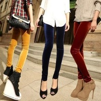 1282 autumn new factory spot wholesale fashion remarkable nine gold velvet skinny pants leggings Korea