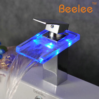 Beelee led luminescent glass waterfall single hole hot and cold counter basin faucet copper