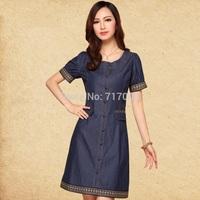 Casual dress 2014 new brand summer plus size women clothing vintage denim dress cheap clothes in china vestidos de fiesta M-5XL