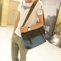 Man vintage stylish canvas bag men's fashion casual canvas genuine leather messenger bag handbags