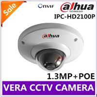 Vandalproof 720P HD Mini Dahua IP Camera Outdoor IPC-HD2100P POE Support ONVIF 2.0 Dome Camera CCTV Camera Free Shipping