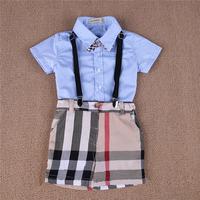 Retail New 2014 Baby boy gentelman 4pcs summer clothing set short sleeve t shirt + plaid short +suspender+bow baby clothing