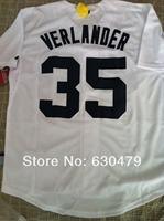 cheap free shipping 2014 Detroit Tigers #35 Justin Verlander White Cool Base men's stitched baseball jersey, size M-3XL,