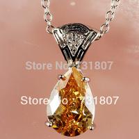 Wholesale Noble Morganite White Topaz  Silver Chain Pendant Necklace Fashion Stone Jewelry   Free Shipping