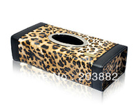 RUICH Free Shipping Leopard Leather Cute Rectangle Car Tissue Box Cover Paper Towel Case Cover Napkin