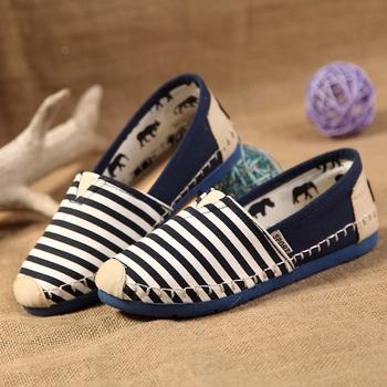 2014 Unisex Spring/Summer Повседневный Strip Canvas Flat Slip-On Driving Shoes Loafers ...