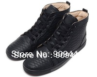 Spring Autumn 2014 New Mens Flats Designer Brand Red Bottoms High Top Lace-up Men Sneakers Big Size Leather Dress Shoes Men