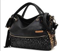 Free Shipping leather Cowhide2014 Fashion Bag Casual all-match leopard Print Paillette Shoulder Bag Handbag Women'S Handbag