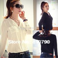New Fashion Women's Shirt Korean Style Long Sleeve Top Women Blouse With Pockets 1pcs/lot Free Shipping