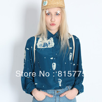 Free Shipping 2014 Original High Quality spring and summer series: blue chiffon long-sleeved shirt