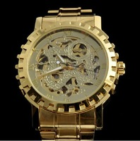 Free shipping 2014New unisex golden Steel Luxury christmas gift watch automatic Watch Gold Skeleton Mechanical watch