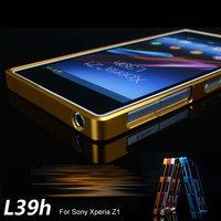 Z1 100% Aluminum Metal Bumper Frame for Sony Xperia Z1 Honami C6906 C6903 C6902 C6943 L39h Protective Cover + Flim +Touch Stylus