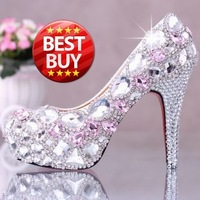 Free shipping rhinestone pumps fashion red bottom sexy prom wedding shoes 2014 pink crystal high heels platform for women Brand