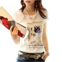 2015 all-match top t-shirt women white slim women's clothes plus size summer cotton short-sleeve T-shirt 100%