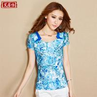 2015 spring women's slim lace print summer vintage national trend female t-shirt short-sleeve