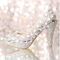 2014 Fashion crystal  wedding  bride white platform high-heeled  rhinestone  performance shoes