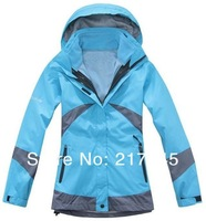 Brand 2014 Fashion Women's Climbing Waterproof Sports Coat Winter High Quality Outdoor Double Layer 2in1 Windproof Skiing Jacket