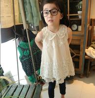 2014 new sleeveless Waist Chiffon lace Dress Girls Toddler 3D Flower Tutu Layered Princess Party Bow Kids Formal Dress