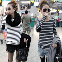 2014 Autumn New Women Plus Size  All-match Basic  Long-sleeve Black and White Stripe T-shirt
