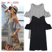 Summer dress women clothes butterfly sleeve cotton cute strapless dress plus size XXXL t shirt dresses