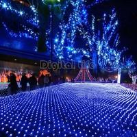 5Pcs/lot Cheap 110-240V 200 LED Net Mesh Decorative Fairy Lights Twinkle Lighting Christmas Wedding Party US Plug Blue TK1260..