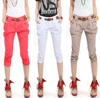2014 new summer harem women pants Capris water wash 100% cotton casual pants with belt  Pants & Capris plus size W42