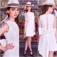 2014 Cute White Dresses Women O-neck Slash Back Bow Dress Brand Summer Mini Hollow Out Chic Slim Party Prom Dress Resort Wear