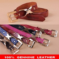 100% Genuine Leather Woman MISS 60 Brand All-match Fashion Girls Skirts Gold Buckles Thin Belt Girls Strap Skinny Belts WBT0036