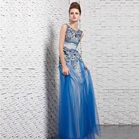 Creative tocsins elegant peacock embroidery evening dress performance dress slim blue formal dress 81608