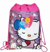 2014 Hot  ,hello Cartoon kitty minnie mick  Drawstring Backpack School Bag Handbags, waterproof  camping bags for boys & girls