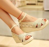 Cutout Lace Sweet Women Sandals Ladies Ruffles Ankle Buckle Strap Wedge Summer Shoes Black Beige AAL135