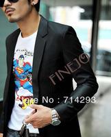 4pcs/lot wholesale New 2014 Casual Men Slim Fit Long Sleeve Formal Black One Button Blazers S/M/L/XL/XXL  18516
