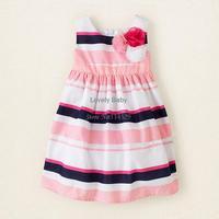 Baby Girls Flower Dresses Black and Pink Stripe One-piece Rainbow Princess Dress for 1-5 years children , Baby wear 20184 b003