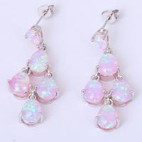 Conch design Brand Wholesale & Retail Blue Fire Opal 925 Silver Drop Earrings Fashionl Jewelry OE150