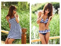 bikinis set Free Shipping NEW arrival Women's Sexy Striped Bikini Push up Swimwear Padded 3 Pieces Bathing Suit Bikini wholesale