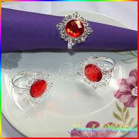 Hot Sale in Stock!12pcs/lot Red Colors Diamante Napkin Ring Serviette Holder Wedding Decoration Bridal Shower Party Favor