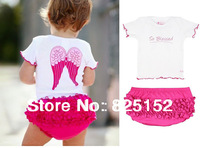 2pcs Newborn Baby Girl Infant Toddlers Kids Children Newborn Angel White Pink Top+Ruffle Pants Shorts Set Clothes Outfit
