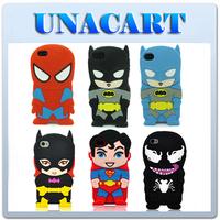 3D Cartoon Super Hero Batman Superman Batgirl Spiderman Soft Silicone Rubber Case Cover Back Skin For Apple iPhone 5 5S