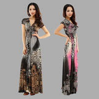 2014 New Retail Spring And Summer Fashion Beach Dress Leopard Dress Bohemian Mopping Large Size Ice Silk Dresses